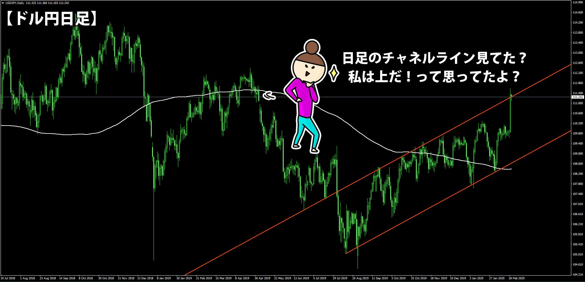 2月20日時点でのドル円日足