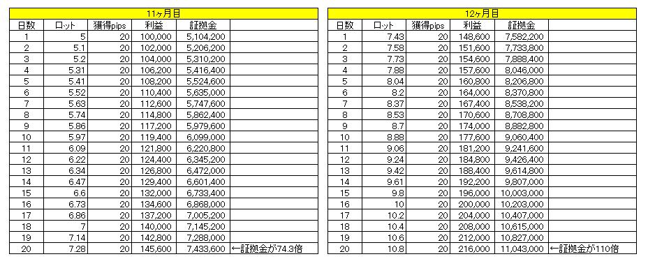 1日20pipsで1億円までの道のり(11~12ヶ月目)