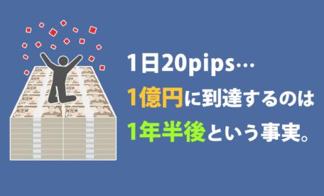 1日20pipsで1億円に到達するのは1年半後