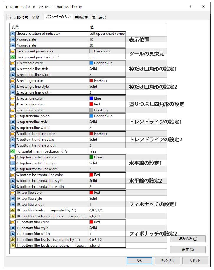 26FM1 - Chart MarkerUpのパラメーター設定