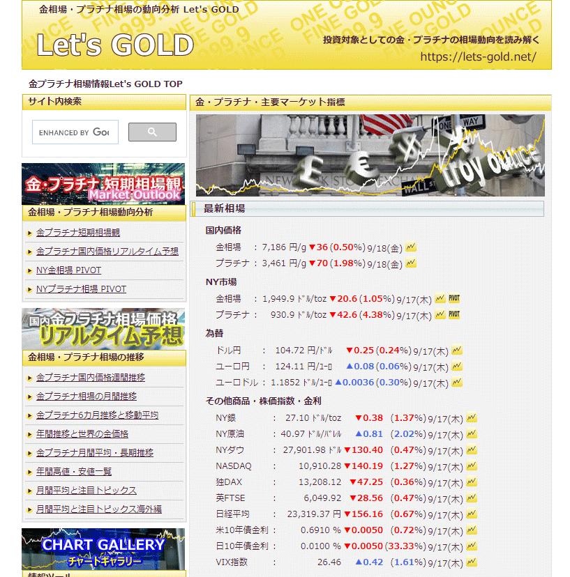 Let's GOLDのTOPページ
