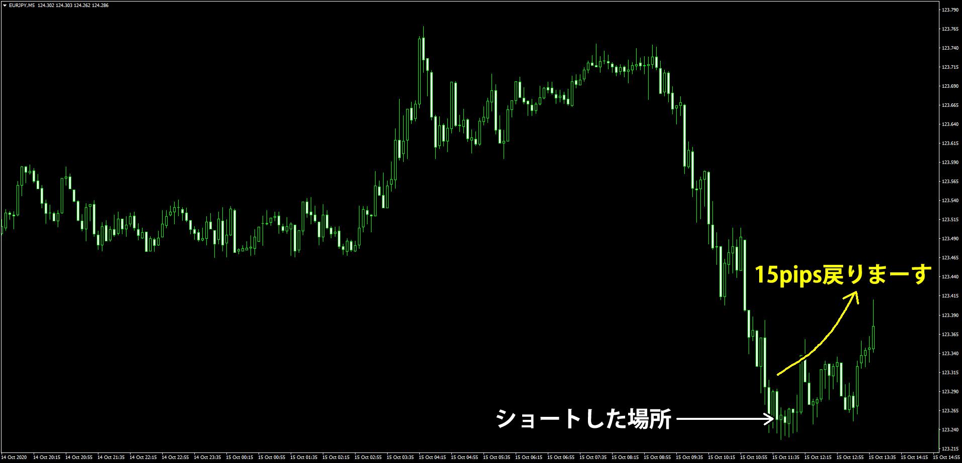 (サンプル)ユーロ円のショート後の逆行で損切り