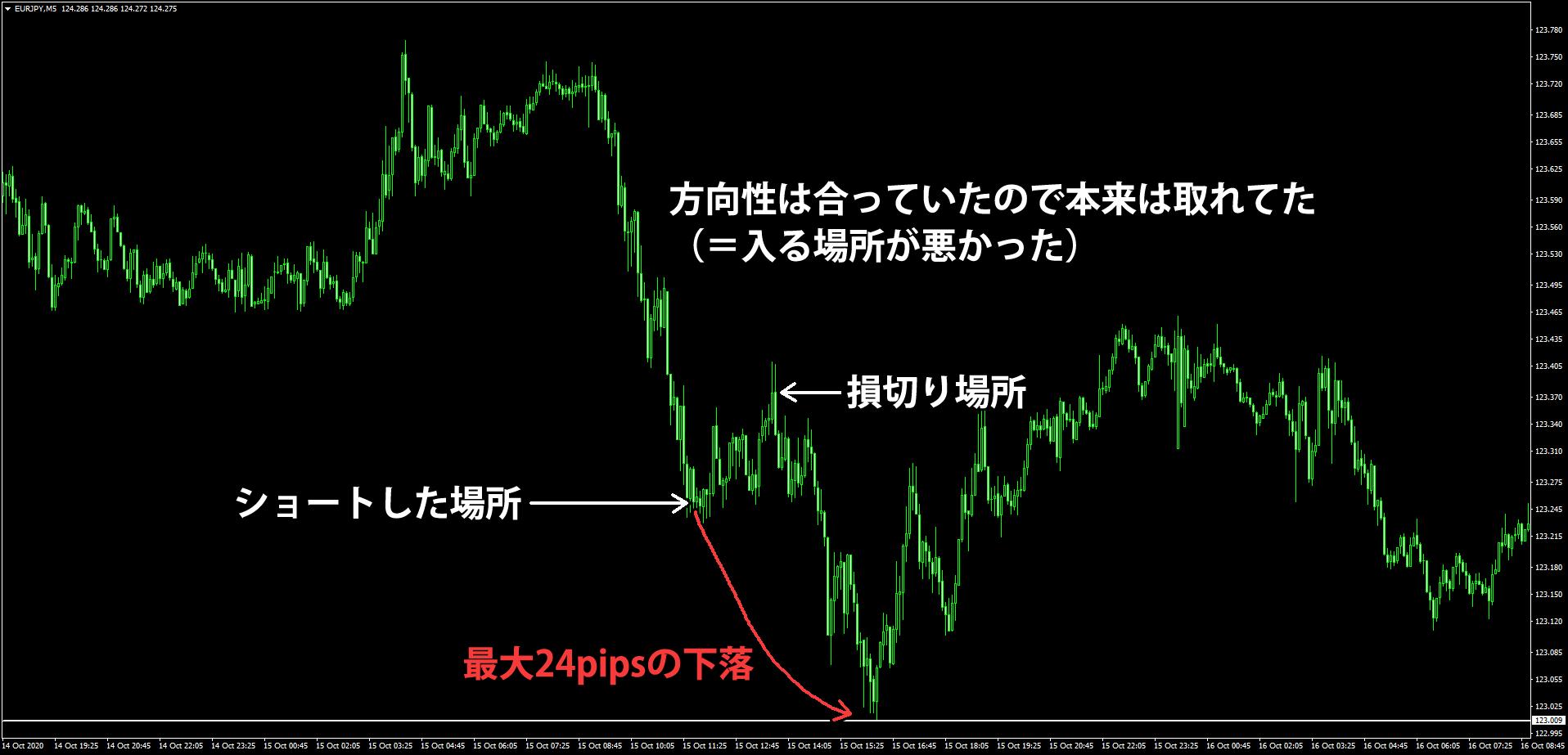 (サンプル)ユーロ円の損切りした後の値動き