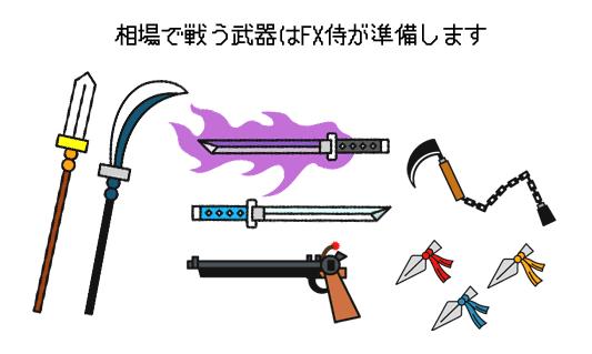 相場で戦う武器のイメージイラスト