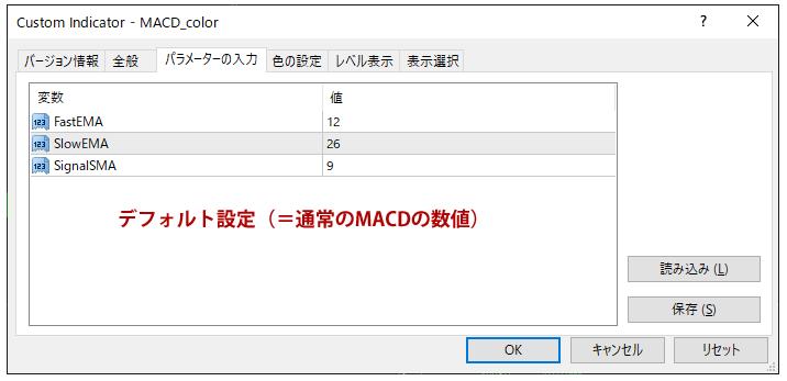 MACD_colorのパラメーター設定