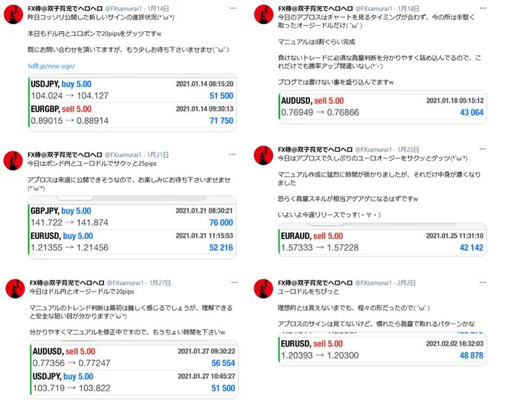 twitterで報告しているサインツールアプロスでのトレード結果