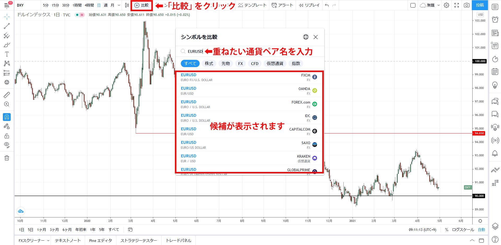 チャートを重ねて表示する通貨ペアを入力