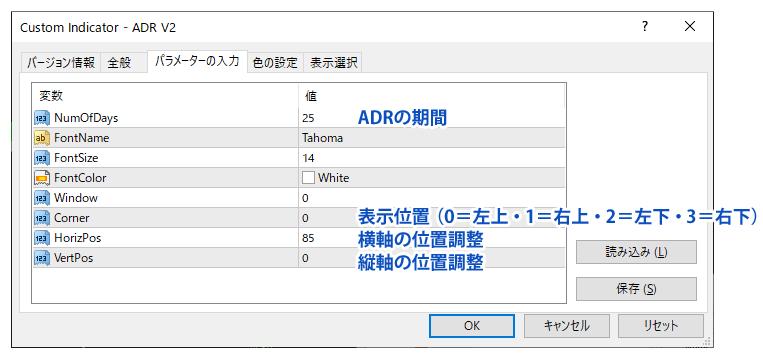 ADR V2のパラメーター設定
